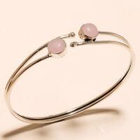 Silver Overlay Cuff Bangel Rose Quartz Handmade Jewelry