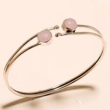 Silver Overlay Cuff Bangel Rose Quartz Gemstone Handmade Jewelry