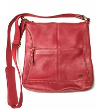 "THE SAK Red Crossbody Bag ""Iris"" Pebbled Leather Adjustable Strap Travel Purse"
