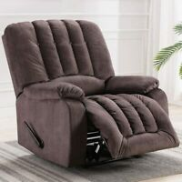 Overstuffed Manual Recliner Chair Contemporary Extra Cozy Living Room Couch Sofa