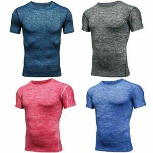 Kompressions Shirt Funktions T-Shirt Laufshirt Top Herren kurzarm Fitness Sport