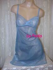 La Perla Sirena Collection L Tulle Lace Chemise Teal Blue