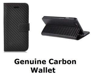 Genuine Black Carbon Fibre Leather Wallet Case For Various Samsung Galaxy Phones