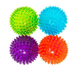 Flashing Light Up Spikey High Bouncing Ball New Sensory Light Up Ball Pack of 4