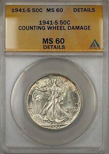 1941-S Walking Liberty Silver Half Dollar 50c ANACS MS 60 (Better Coin)