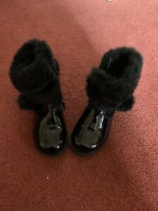 Black Patent Fur Topped Boots Infant Girl 8 25
