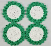Vintage Hand Crocheted Round Doilies Set of 4 Green White Gift St Patricks Day