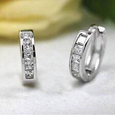 Ladies Men's Stainless Steel Crystal Huggie Hoop Studs Earrings Fashion