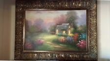 Original oil on canvas painting- cottage in the woods - signed Thomas - Kinkade?