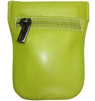 kleine Leder Schlüsselglocke Limone  Spangen Schlüsseletui Schlüsseltasche grün