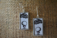 Beautiful Unique Handmade Hanging Earrings **Sad Love** Image Silver Hook