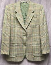 Burberry Tweed Blazer Jacket Mens 9 Plaid Check Green Gray Pockets Shoulder Pads