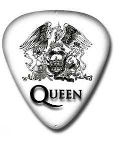 QUEEN PLECTRUM SHAPED METAL WALL SIGN 290MMX390MM,MUSIC,WE WILL ROCK YOU,FREDDIE