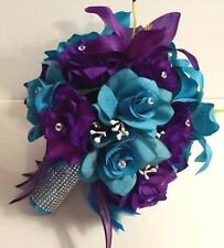 21 Piece Round Bridal Bouquet Package Purple Turquoise Tiger Lily Silk Flower