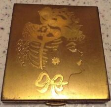 Gold Toned Metal Powder Compact w/ Etched Design