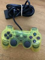 Genuine Sony Playstation Dualshock 2 Controller Clear Yellow SCPH-10010 PS1 PS2