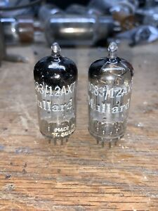 Rare Matched Pair Mullard 12ax7/ECC83 Long Plate tubes 1958 Tested 90+ B8A Code