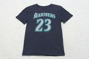 Seattle Mariners Size Medium 10/12 Blue Cotton Crewneck Graphic Tee T-Shirt Cruz