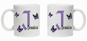 BUTTERFLY PERSONALISED ANY INITIAL NAME IN PURPLE GIFT PRESENT CHRISTMAS MUM 341