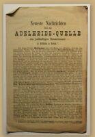 Orig. Prospekt Nachrichten über Adelheids-Quelle um 1875 Kurort Reise Bayern sf