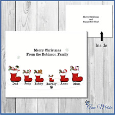10 PERSONALISED STOCKING FAMILY CHRISTMAS CARDS XMAS GREETINGS WITH ENVELOPES