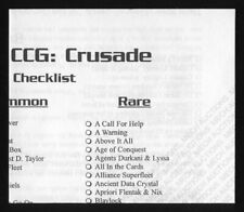 Babylon 5 CCG Crusade Edition Official Checklist From Booster Box of Cards M/NM