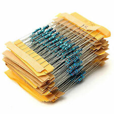 500pcs 50 Values 1Ω~10MΩ 1/4W Metal Film Resistors Resistance Assortment Kit 1%