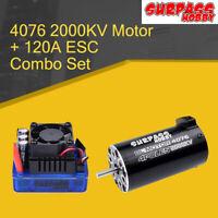SURPASSHOBBY 4076 2000KV Brushless Motor with 120A+ECS for 1:8 RC Off-road Car