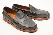 Allen Edmonds Sedona Mens Penny Loafers 7 D Gray Leather Moc Toe Red Vibram Sole