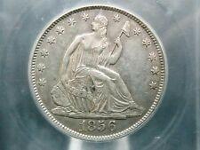 "1856 ""O"" Seated Liberty Half Dollar 50c ""Repunched Date"" ICG AU50 ECC&C, Inc."
