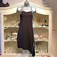 BLACK SUMMER DRESS ASYMMETRIC HEM WITH ZIPS UNUSUAL STRETCHY UK 8 EUR 36