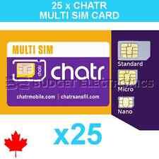 25 pcs New Chatr Multi Prepaid Triple Format Sim Cards - Wholesale Bulk Canada