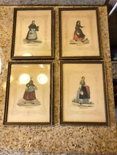 FOUR Antique Prints German Ladies Costume 1800's Lovely Hand Colored Framed