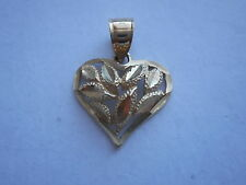 VINTAGE 10K GOLD HEART DIAMOND CUT PENDANT NOT SCRAP