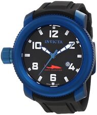 New Men's Invicta 1548 Sea Hunter Swiss Blue Case Black Dial Polyurethane Watch