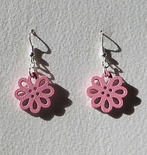 SMALL PINK LASER CUT WOOD FLOWER SILVER PLATED DROP EARRINGS