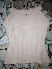 Pull/top/débardeur laine rose pastel AUTRE TON t.1 = 36 = S rubans dentelle NEUF