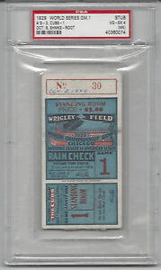 1929 World Series ticket stub Philadelphia A's Chicago Cubs Gm 1 PSA 4 Stand. Rm