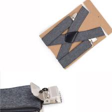Elastic Suspenders Clip-on Shirt Belt Strap Men Leather Braces X-Back