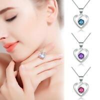 Zarten Schmuck Liebhaber Halskette Kristall Herz Anhänger Geburtstagsgeschenke