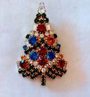 Vintage Eisenberg ICE Signed Rhinestone Christmas Tree Brooch Pin