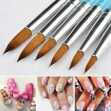 6Pcs/Set Profesional Kolinsky uñas de acrílico Pincel Redondo Manija Para Nai herramienta de arte