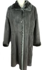 Jones New York S gray silver faux suede button front knee length coat jacket