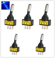 5Pcs DC 12 V 20 A coche Auto luz LED azul alternar Rocker Switch 3Pin un polo solo tiro de encendido/apagado