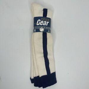 Vintage 2 Pair Team Gear Baseball Tube Socks Blue Stripe USA Made Medium