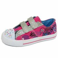 GIRLS KIDS CHILDRENS FLAT PINK CANVAS TRAINER SHOES PLIMSOLL PUMPS SIZES 10-2
