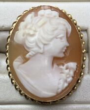 Cameo Pin Pendant 3.70 Grams Vintage 14k Solid Yellow Gold Carved
