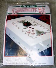 """Bucilla Holiday Tree Stamped Cross Stitch Christmas Tablecloth Kit 60""""x80"""""""