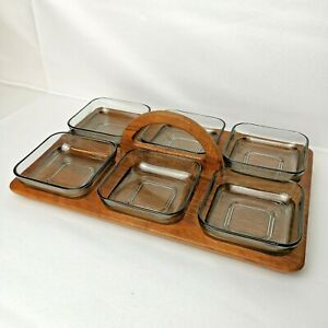 """Wooden Tray with Six Smoked Square Glass Serving Dishes/Bowls 34cm or 13.4"""""""