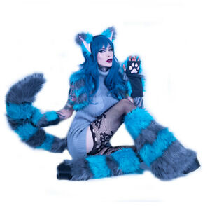 PAWSTAR Cheshire Yip Fox Combo - Full Tail - furry costume cosplay cat [ALT]4213